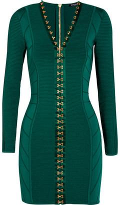 Balmain - Ribbed Stretch-knit Mini Dress - Emerald $3,900 thestylecure.com