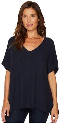Vince Camuto Short Sleeve Plaited Traveling Stitch Boxy Pullover Women's Short Sleeve Pullover