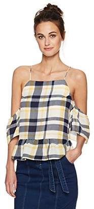Moon River Women's Open Shoulder with Back Button Top