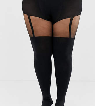 Pretty Polly curve suspender tights in black