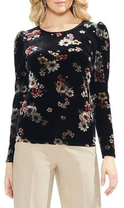 Vince Camuto Floral Story Puff Sleeve Stretch Velvet Top