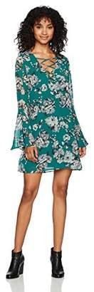 Speechless Women's Chiffon Bell Sleeve Dress