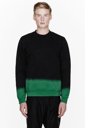 Raf Simons Black & green ombre sweatshirt