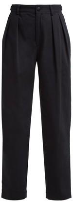 Koché Lace Side Stripe Cotton Blend Trousers - Womens - Black