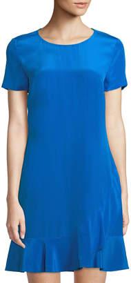 Diane von Furstenberg Deon Short-Sleeve Flounce Silk Dress
