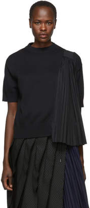 Sacai Black Knit Shirting Sweater