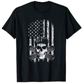 Mens Greaser T-Shirt USA American Flag Skull and 50s Hairstyle Large