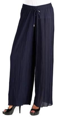 24seven Comfort Apparel Pleated Wide Leg Drawstring Pants