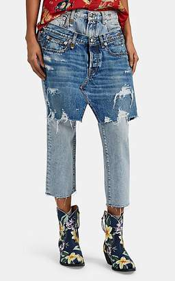 R 13 Women's Denim-Overlay Short Jeans - Blue