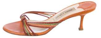Jimmy Choo Lizard Mid-Heel Sandals Tan Lizard Mid-Heel Sandals