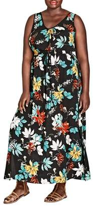 City Chic Tropical Print Maxi Dress