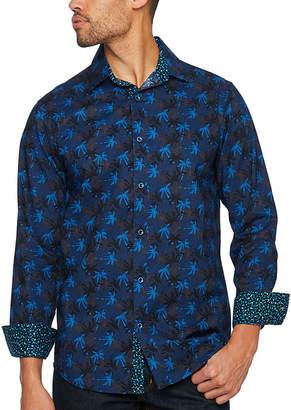 Claiborne Long Sleeve Geometric Button-Front Shirt