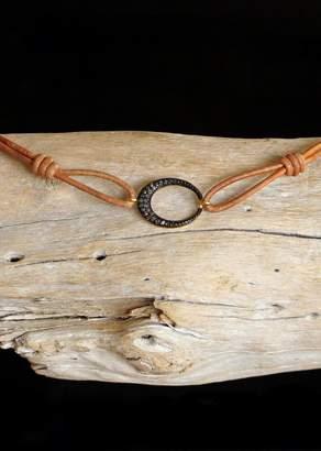 Designs By Alina Pave-o-petit Diamond Oval On Leather Cord Choker