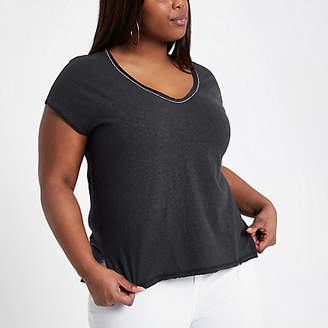 River Island Womens Plus Grey embellished neck T-shirt