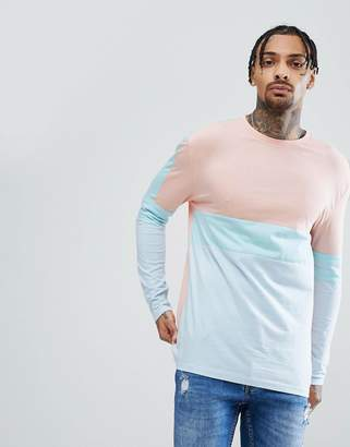 Asos DESIGN relaxed longline long sleeve t-shirt in pastel color block