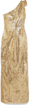 Naeem Khan One-shoulder Sequined Tulle Gown - Gold