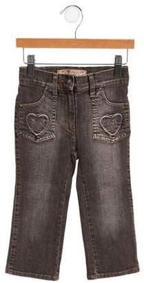 MonnaLisa Girls' Mid-Rise Wide-Leg Jeans