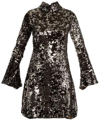 Halpern - Sequin Embellished High Neck Flared Sleeve Dress - Womens - Black Silver