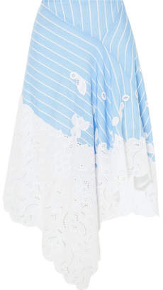 Jonathan Simkhai Broderie Anglaise-trimmed Striped Cotton And Silk-blend Poplin Skirt - White