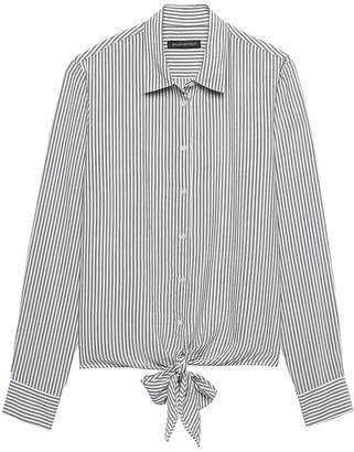 Banana Republic Petite Dillon Classic-Fit Stripe Tie-Front Shirt