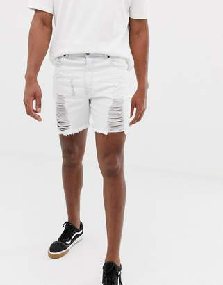 SikSilk super skinny denim shorts in white with distressing