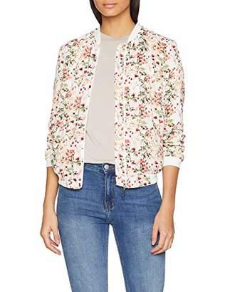 Damart Women's Veste Blouson Imprimé Bomber Jacket, Multicolour (Ecru Imprime Fleurs 032), (Size: 38)