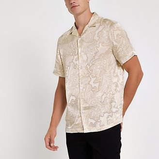 River Island Ecru floral satin short sleeve revere shirt