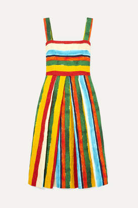 Dolce & Gabbana Pleated Striped Brocade Midi Dress - Mustard