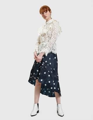 Ganni Seneca Silk Skirt in Total Eclipse