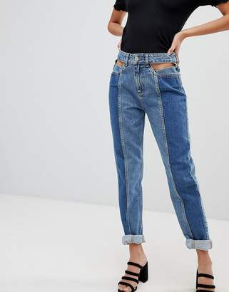NA-KD Cut Out Panel Jeans