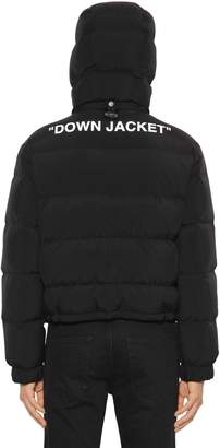 Off-White Slim Fit Crop Tech Fabric Down Jacket