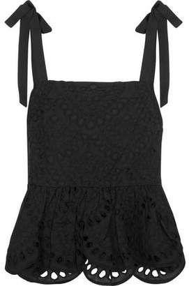J.Crew Bow-Detailed Broderie Anglaise Cotton Top