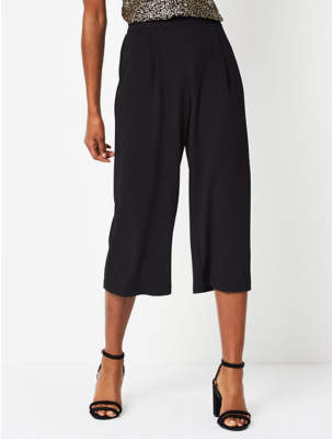 Black Crepe Textured Culottes