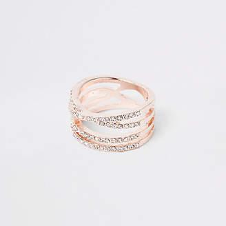 River Island Rose gold tone rhinestone double kiss ring