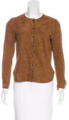 Frame Suede Long Sleeve Top