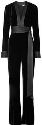 Diane von Furstenberg Satin-trimmed Velvet Jumpsuit