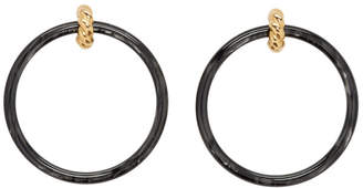 Balenciaga Gold and Black Large Hoop Earrings