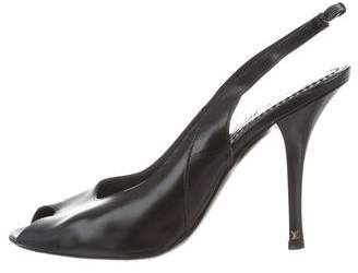 Louis Vuitton Leather Peep-Toe Pumps