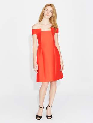Halston Off Shoulder Geo Neck Dress