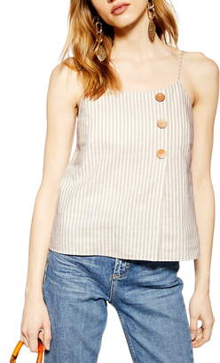 64720dc8b5b4 Topshop Stripe Button Wrap Camisole Top