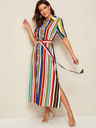 Shein Rainbow Stripe Belted Slit Maxi Shirt Dress