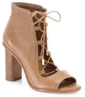 Joie Cordelia Leather Lace-Up Block Heel Booties