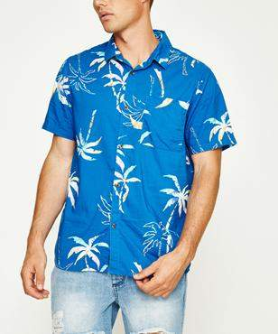 Wrangler Party Palm Short Sleeve Shirt Blue