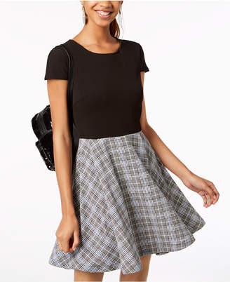 B. Darlin Juniors' Solid & Plaid Fit & Flare Dress