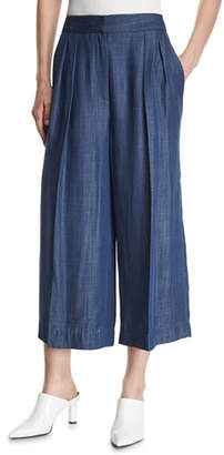 Tibi Pleated Wide-Leg Chambray Pants