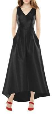 Alfred Sung Full Length Sleeveless V-Neck Sateen Twill Hi-Lo Dress