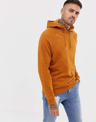 Asos DESIGN hoodie with rib inserts in brown