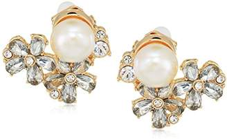 Carolee Petals and Pearls Collection Women's Floral Cluster Clip On Earrings