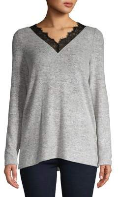 Vero Moda Lace-Trimmed Heather Top