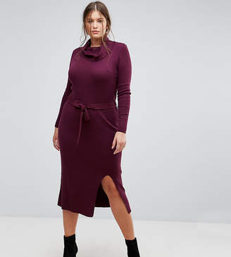 Simply Be Knitted Dress With Tie Waist